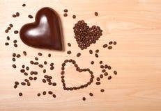Coeurs de café et de chocolat Images stock
