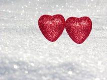 Coeurs de concept de vacances d'amour de jour du ` s de Valentine sur le backg blanc brillant Photos libres de droits