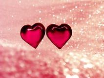 Coeurs de concept de vacances d'amour de jour du ` s de Valentine sur le backgr rose brillant Photos stock