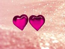 Coeurs de concept de vacances d'amour de jour du ` s de Valentine sur le backgr rose brillant Image libre de droits