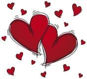 Coeurs de croquis avec des confettis Photos libres de droits