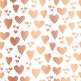 Coeurs de cuivre d'aluminium sur le fond blanc sans couture illustration stock