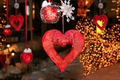 Coeurs de décorations de vacances Images libres de droits