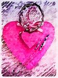 Coeurs de double de vintage de DW avec la lavande 2 Images libres de droits
