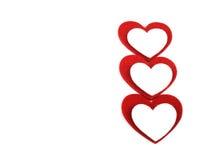 Coeurs de feutre de Valentine Photographie stock libre de droits