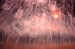 Coeurs de feux d'artifice Image stock