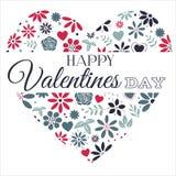 Coeurs de fleur rouges et bleus avec le texte de valentines Photos libres de droits