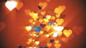 Coeurs de fond orange Photographie stock