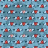 Coeurs de griffonnage avec des ailes, modèle sans couture Images stock