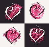 Coeurs de griffonnage de Saint Valentin Illustration de vecteur Images libres de droits