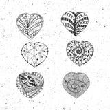 Coeurs de jour de valentines de vecteur de griffonnage réglés Image stock
