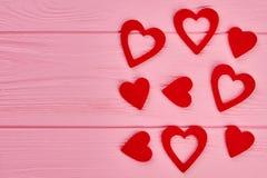 Coeurs de jour de valentines et espace rouges de copie Photos libres de droits
