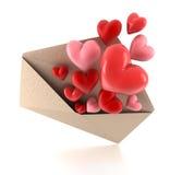 Coeurs de l'enveloppe Photo libre de droits