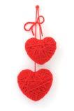 Coeurs de laine rouges photographie stock