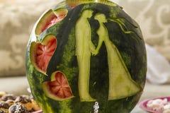 Coeurs de mariage de pastèque Images stock