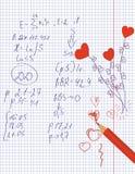Coeurs de maths et d'amour Photographie stock libre de droits
