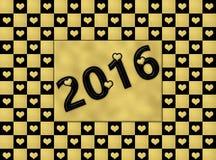 Coeurs de noir et d'or de la bonne année 2016 Photo libre de droits