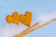 Coeurs de pain d'épice Photo stock
