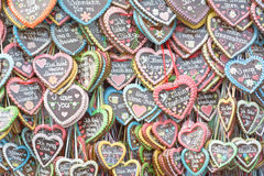 Coeurs de pain d'épice chez Octoberfest Photographie stock libre de droits