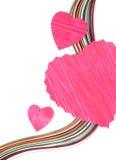 Coeurs de papier avec concevoir le papier Photographie stock libre de droits