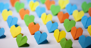 Coeurs de papier d'Origami Images libres de droits