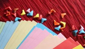 Coeurs de papier d'origami Photographie stock libre de droits