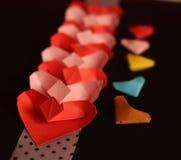 Coeurs de papier d'origami Photos stock