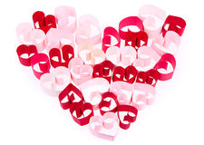 Coeurs de papier dans la forme du coeur sur le fond blanc Photo libre de droits