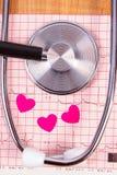 Coeurs de papier et de stéthoscope sur le graphique d'électrocardiogramme, la médecine et le concept de soins de santé Photos libres de droits