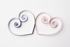 Coeurs de papier quilling pour la Saint-Valentin Photographie stock