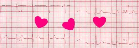 Coeurs de papier sur le graphique d'électrocardiogramme, concept de médecine et de soins de santé Image stock