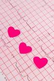 Coeurs de papier sur le graphique d'électrocardiogramme, concept de médecine et de soins de santé Images stock