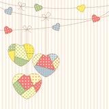 Coeurs de patchwork Photographie stock libre de droits