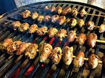 Coeurs de poulet grillés par Vietnamien photographie stock