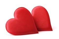 Coeurs de rouge de tissu Photos stock