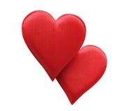 Coeurs de rouge de tissu Photo libre de droits