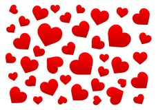 Coeurs de rouge de fond Photographie stock