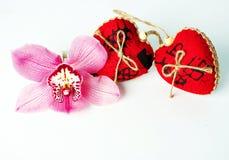Coeurs de rouge de jour du ` s de Valentine Image libre de droits