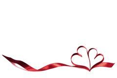 Coeurs de ruban sur le blanc Photographie stock