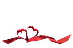 Coeurs de ruban sur le blanc Photos stock
