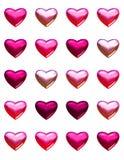 Coeurs de Saint-Valentin d'isolement sur le blanc. Photographie stock libre de droits