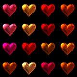 Coeurs de Saint Valentin d'isolement sur le noir. Photo libre de droits