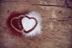 Coeurs de sucre et de cacao Image stock
