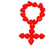Coeurs de sucrerie effectuant un symbole femelle Images libres de droits