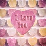 Coeurs de sucrerie je t'aime Photographie stock