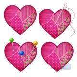 Coeurs de tissu Photos stock