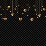 Coeurs de valentine de scintillement d'or sur le fond transparent Conception élégante de luxe de calibre de disposition d'étincel Photo stock