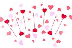 Coeurs de Valentine sur des bâtons avec des formes de coeur Photo libre de droits
