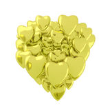 Coeurs de valentines d'or Photos libres de droits