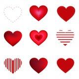 Coeurs de vecteur réglés d'isolement sur le fond blanc illustration stock
